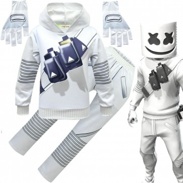 Marshmello costume with full mask for kids
