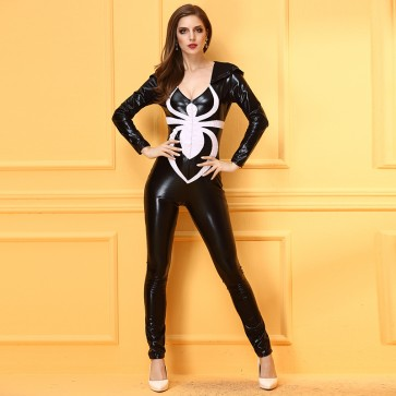 Black imitation leather skinny one-piece performance suit