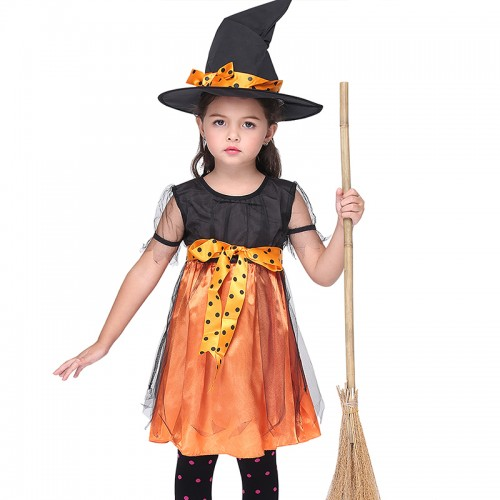 halloween girl yellow witch outfit
