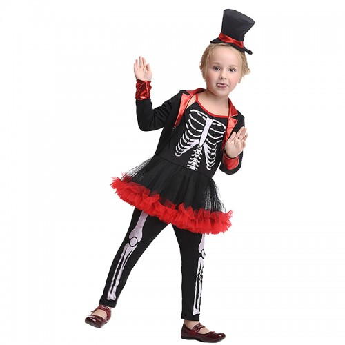 Halloween cute skeleton costume dress for kids