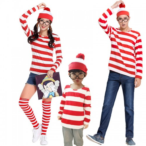 Halloween Red Striped Book Character Costume