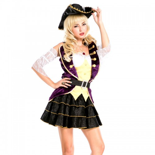 Halloween purple pirate dress for women