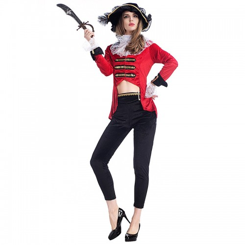 halloween red pirate wench outfit