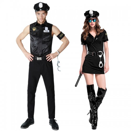 high quality couples halloween police costume