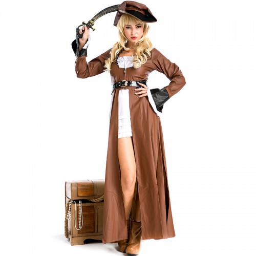 halloween brown pirate costume for woman