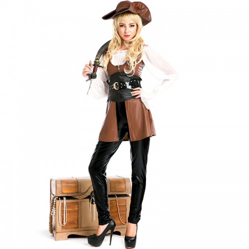 Halloween Brown Pirate Wench Costume
