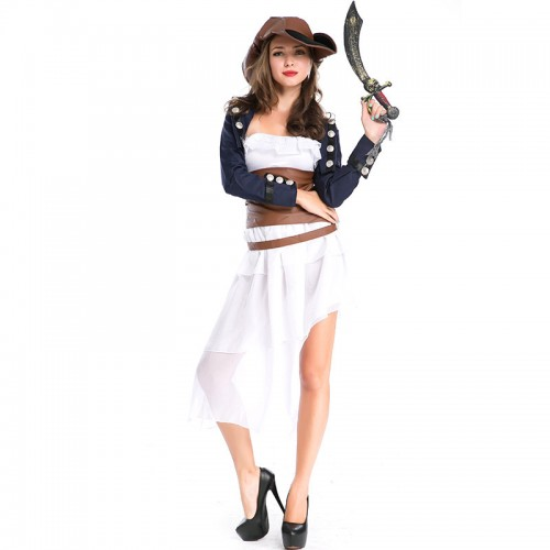 halloween white pirate outfit costume