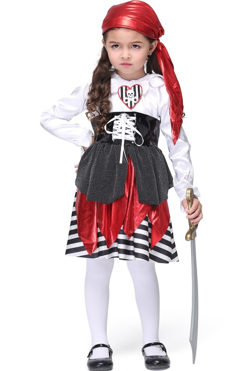Halloween girl pirate dress clothes