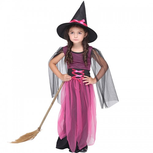 Halloween pink Witch cosplay outfit for girl
