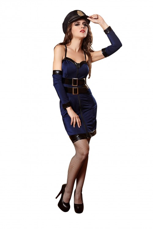 sexy blue police cosplay
