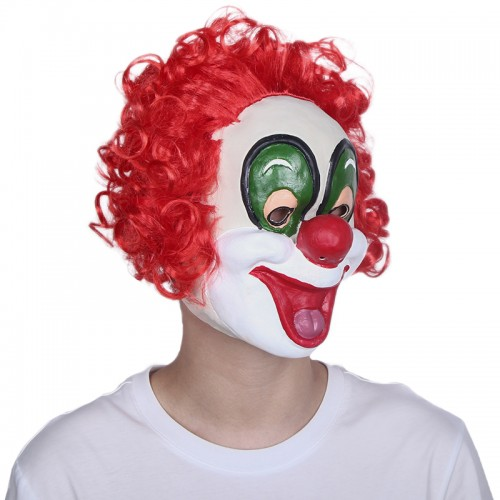 Funny Halloween clown Mask with red wig