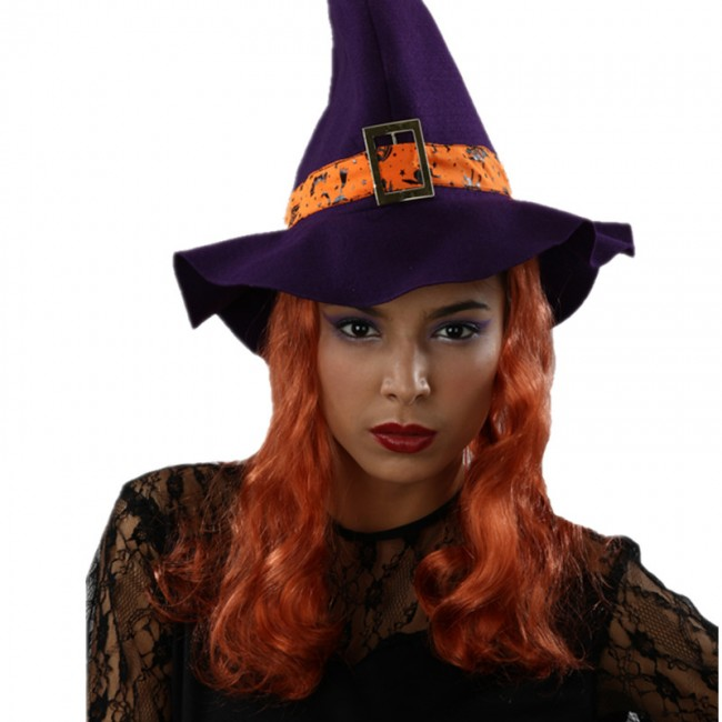purple witch hat with Wigs for halloween
