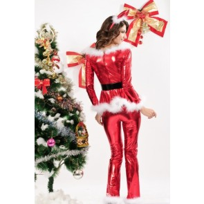 4PC Fluffy Santa Girl Costume in Red