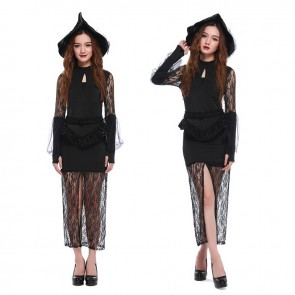 High slit lace sexy slim witch costume