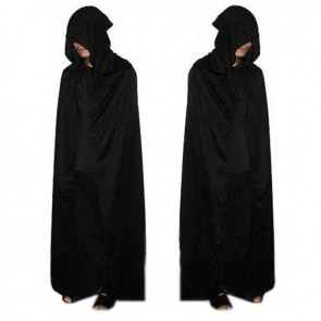 Halloween Costume Devil's Cloak Black Cap with Long Cloak