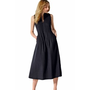 Black V Neck Pleated Sleeveless Dress